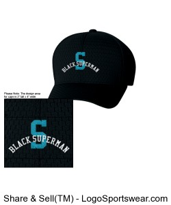 "Black Superman (Sky Blue ""S"") Fitted Hat Design Zoom"