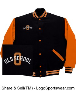 Old School Varsity Jacket (Orange / Black) Design Zoom