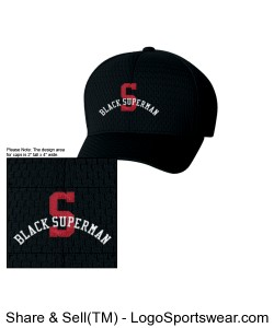 "Black Superman (Red ""S\"") Fitted Hat Design Zoom"